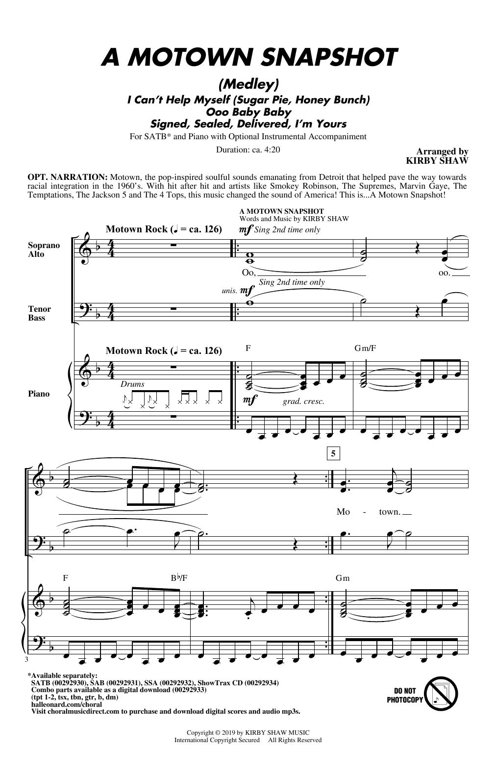 Kirby Shaw 'A Motown Snapshot (Medley)' Sheet Music Notes, Chords |  Download Printable SATB Choir - SKU: 415769