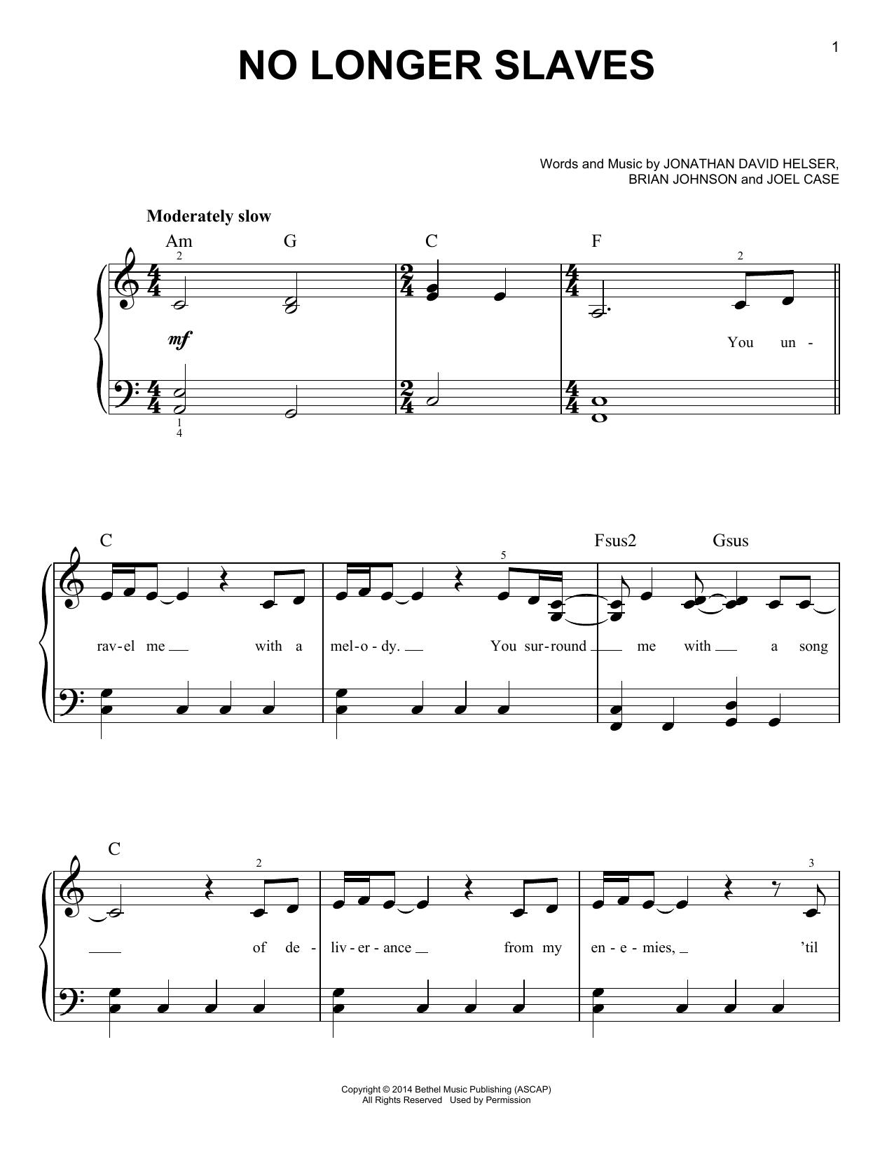 Bethel Music 'No Longer Slaves' Sheet Music Notes, Chords | Download  Printable Easy Piano - SKU: 415773