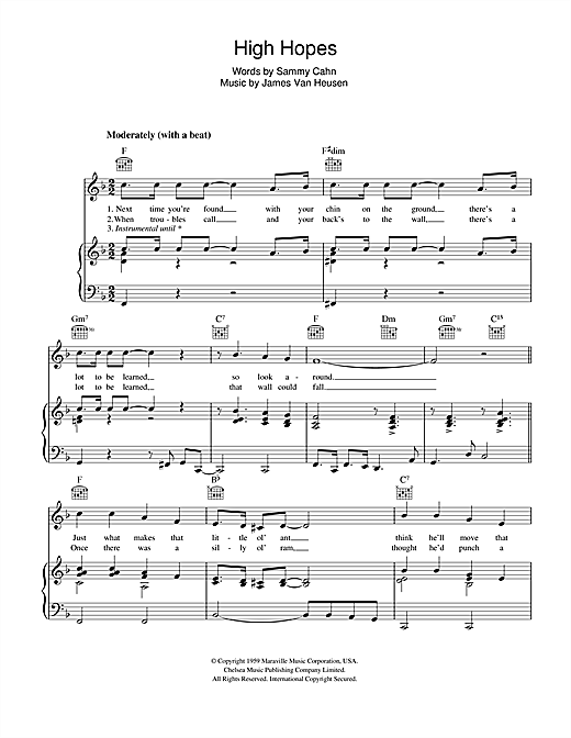 Frank Sinatra 'High Hopes' Sheet Music Notes, Chords | Download Printable  Piano, Vocal & Guitar (Right-Hand Melody) - SKU: 43047