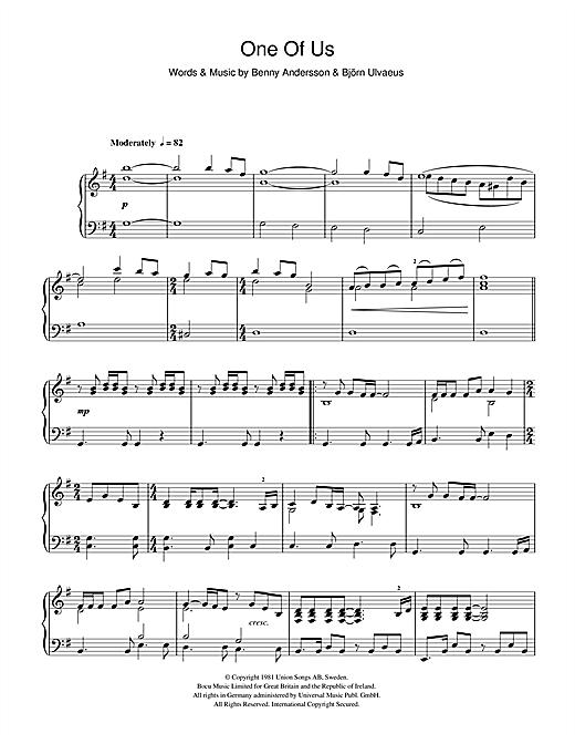 Abba One Of Us Sheet Music Notes Chords Download Printable Piano Sku 43698