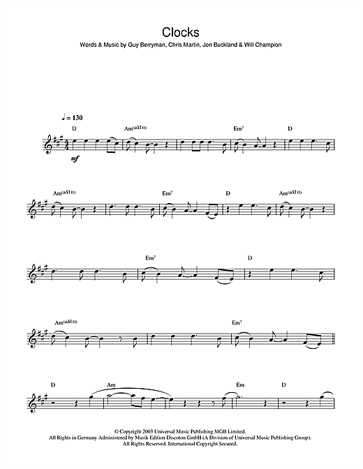 Coldplay 'Clocks' Sheet Music Notes, Chords | Download Printable Clarinet -  SKU: 45430