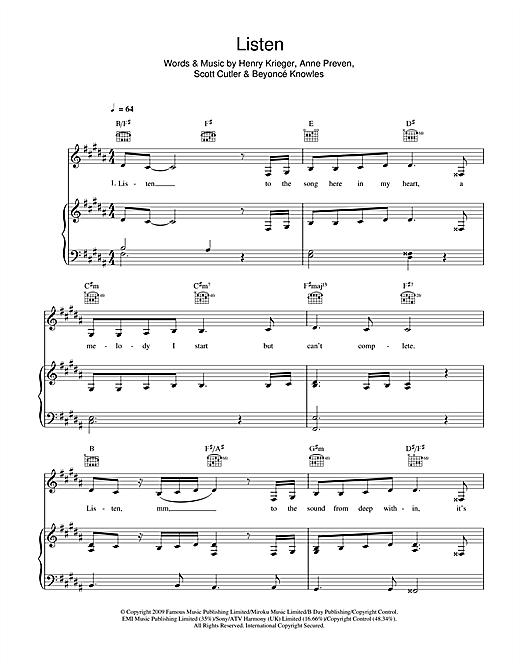 Beyonce Listen From Dreamgirls Sheet Music Download Pdf Score 46703