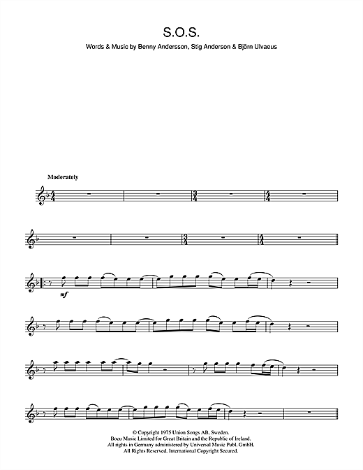 ABBA 'S O S ' Sheet Music Notes, Chords | Download Printable Flute - SKU:  48407