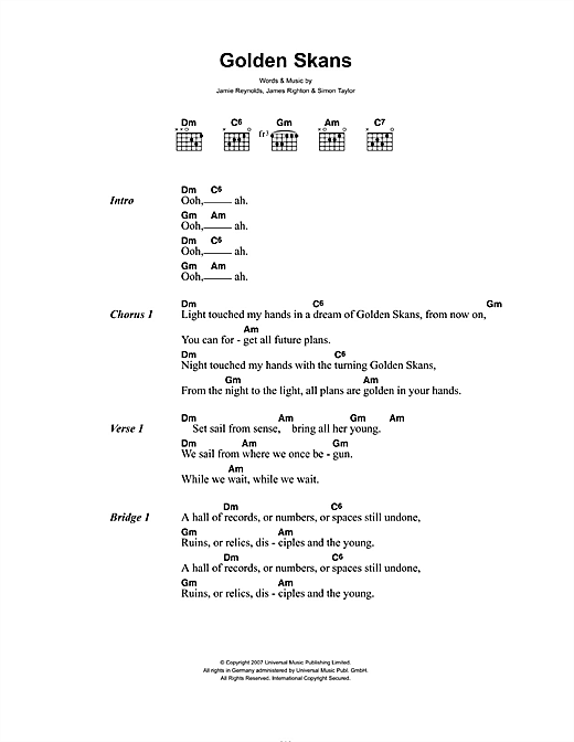 Klaxons 'Golden Skans' Sheet Music Notes, Chords | Download Printable  Lyrics & Chords - SKU: 49045