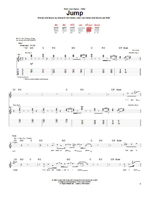 Van Halen Jump Sheet Music Notes Chords Download Pop Notes Guitar Tab Pdf Print 52211