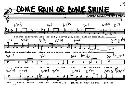 Come Rain or Come Shine Sheet Music