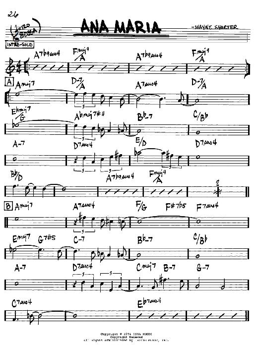 Wayne Shorter 'Ana Maria' Sheet Music Notes, Chords | Download Printable  Real Book - Melody & Chords - Bb Instruments - SKU: 61625