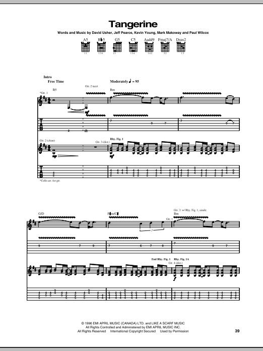 Moist 'Tangerine' Sheet Music Notes, Chords | Download Printable Guitar Tab  - SKU: 68930