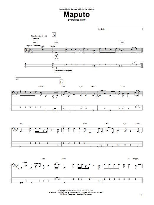 Marcus Miller 'Maputo' Sheet Music Notes, Chords | Download Printable Bass  Guitar Tab - SKU: 69844