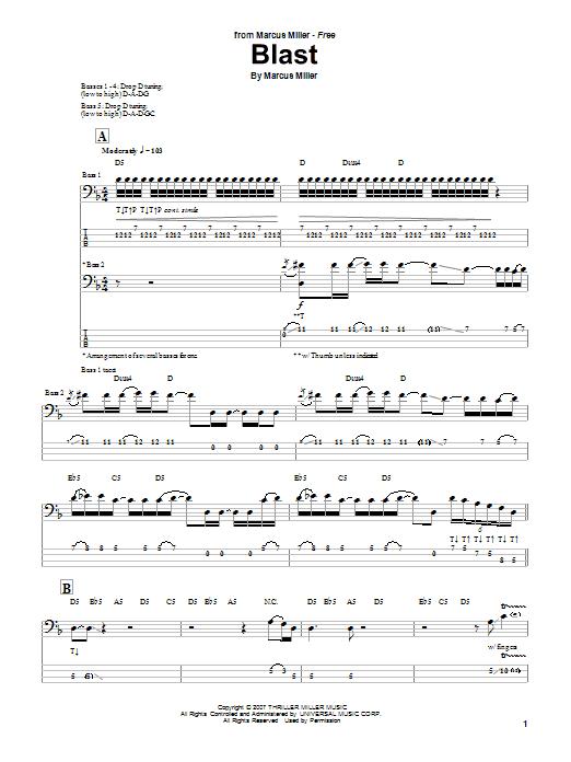 Marcus Miller 'Blast' Sheet Music Notes, Chords | Download Printable Bass  Guitar Tab - SKU: 69847