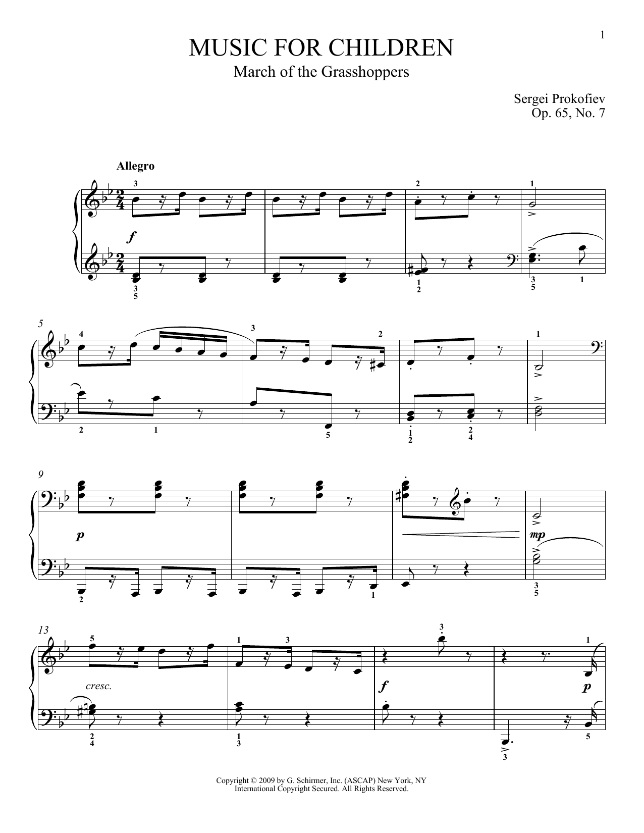 7 Years Piano Pdf sergei prokofiev 'march of the grasshoppers' sheet music notes, chords |  download printable piano - sku: 73500
