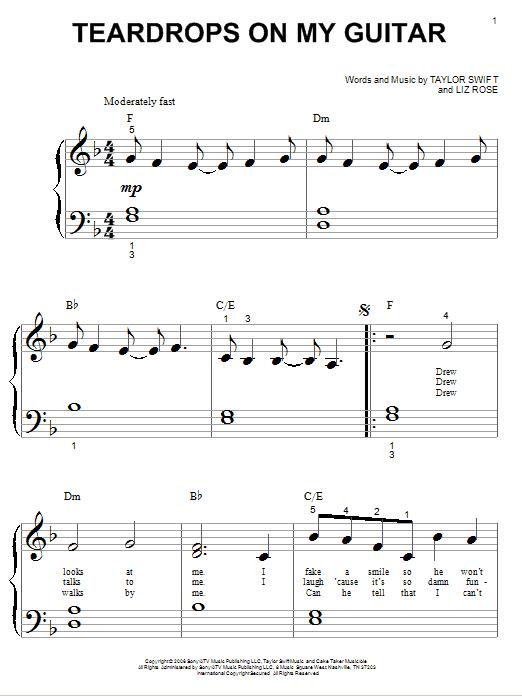 Taylor Swift Teardrops On My Guitar Sheet Music Download Pdf Score 74564
