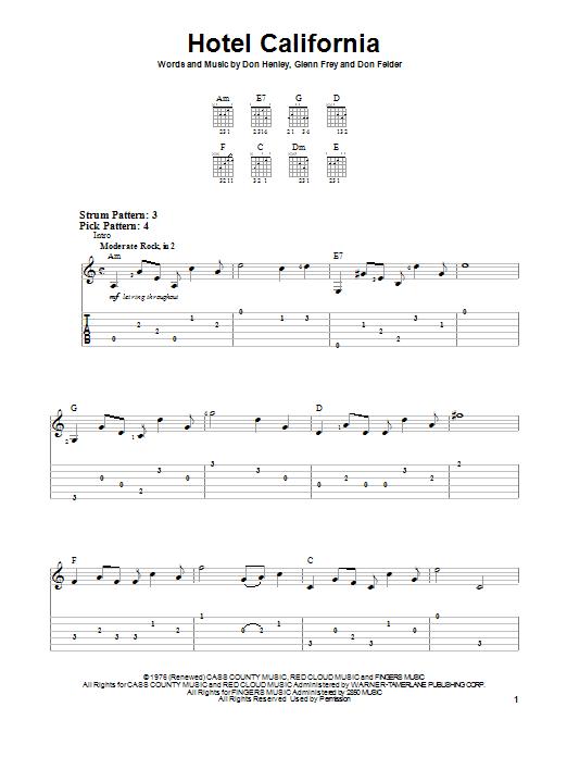 Eagles Hotel California Sheet Music Notes Chords Download Rock Notes Easy Guitar Tab Pdf Print 80403