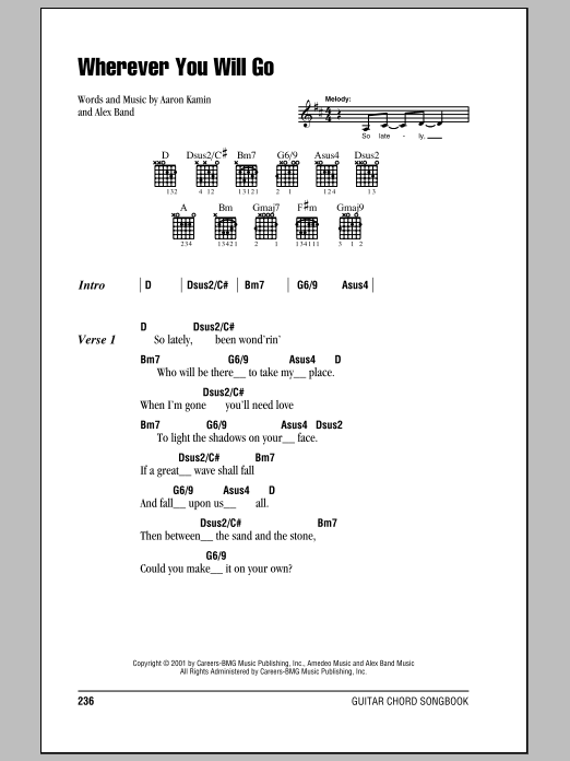 The Calling Wherever You Will Go Sheet Music Notes Chords Download Rock Notes Lyrics Chords Pdf Print 81561