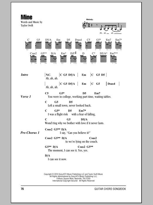 Taylor Swift Mine Sheet Music Notes Chords Download Pop Notes Lyrics Chords Pdf Print 81685