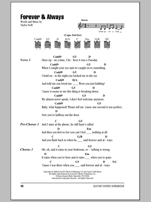 Taylor Swift Forever Always Sheet Music Notes Chords Download Pop Notes Lyrics Chords Pdf Print 81694
