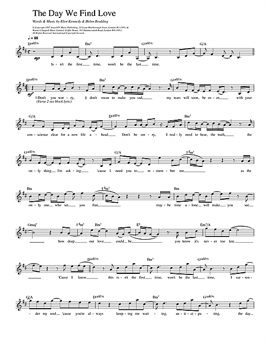 The Day We Find Love sheet music