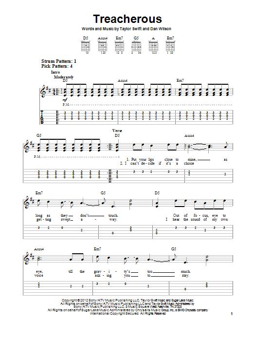 Taylor Swift Treacherous Sheet Music Notes Chords Download Pop Notes Easy Guitar Tab Pdf Print 94195
