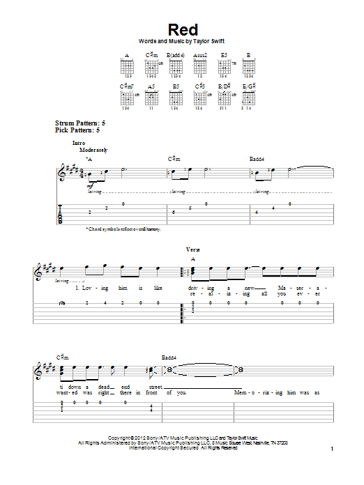 Taylor Swift Red Sheet Music Notes Chords Download Pop Notes Easy Guitar Tab Pdf Print 94200