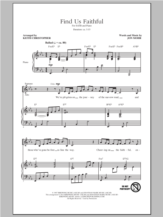 Keith Christopher, Find Us Faithful, SATB, sheet music, piano notes, chords, song, artist, awards, billboard, mtv, vh1, tour, single, album, release