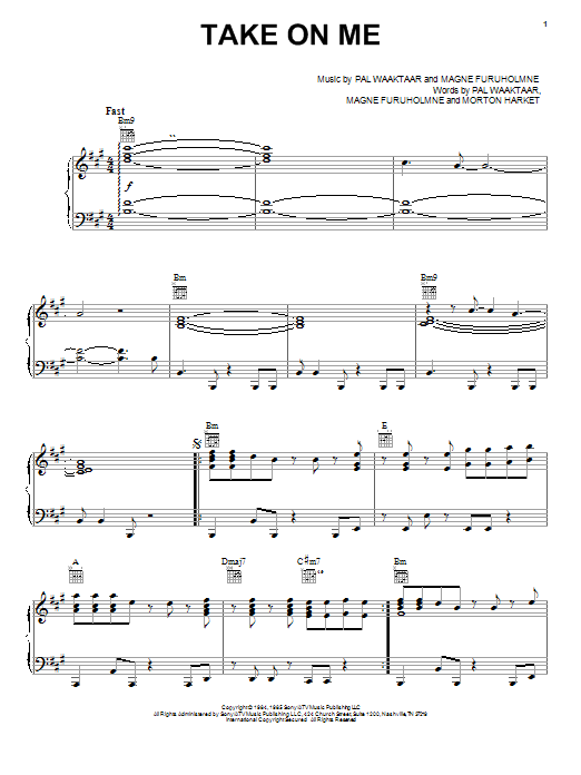 Take On Me sheet music