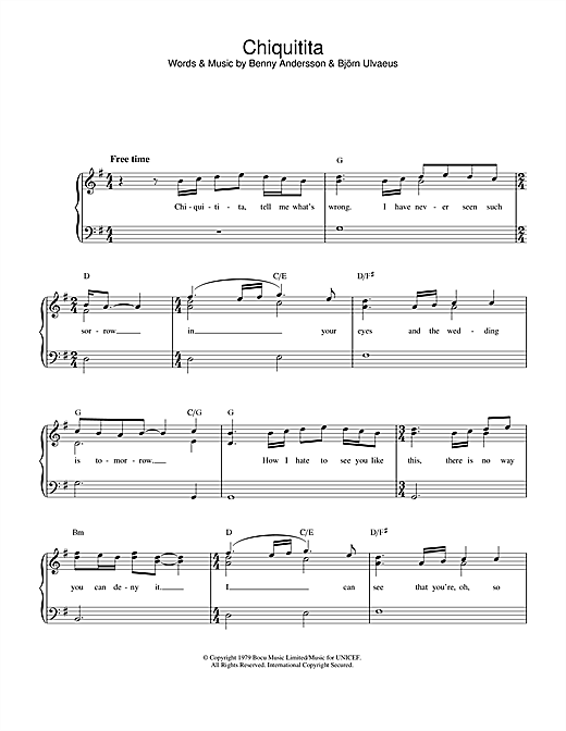 Chiquitita sheet music