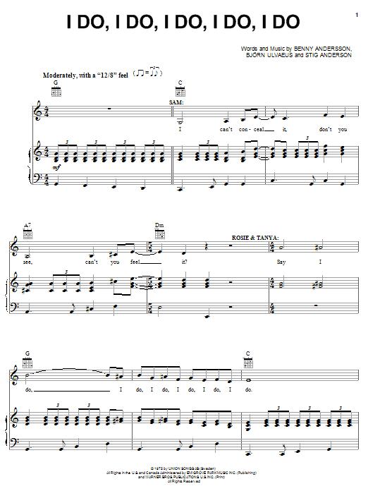 I Do, I Do, I Do, I Do, I Do sheet music