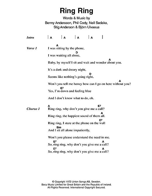 Ring, Ring sheet music