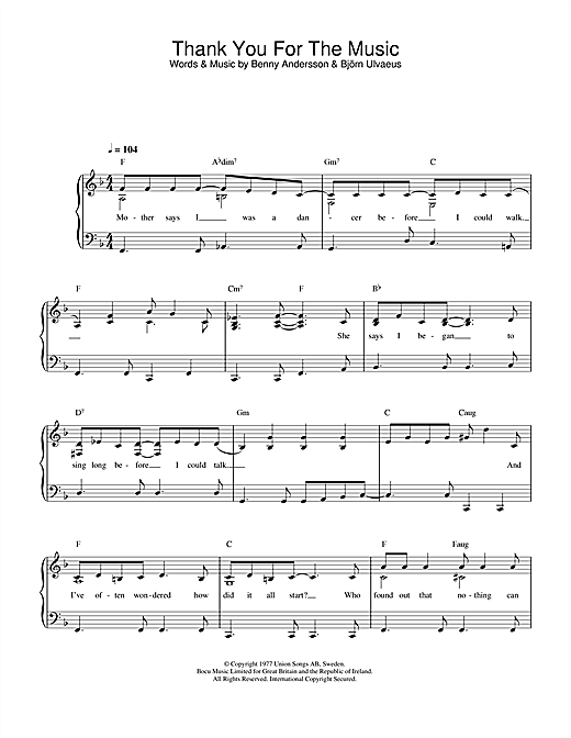 Thank You For The Music sheet music