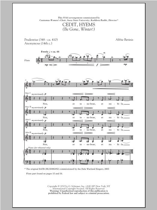 Cedit, Hyems (Be Gone, Winter!) sheet music