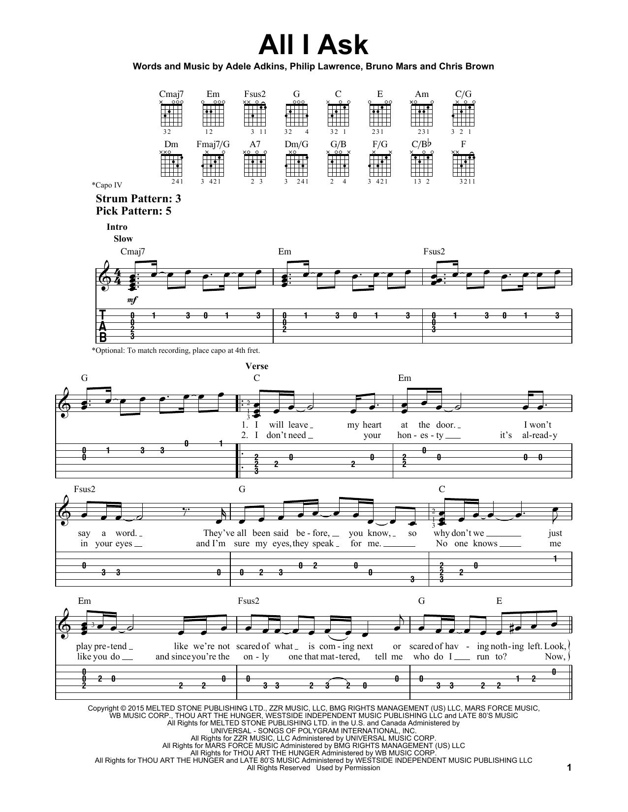 Adele 'All I Ask' Sheet Music Notes, Chords   Download Printable Lyrics &  Chords   SKU 15
