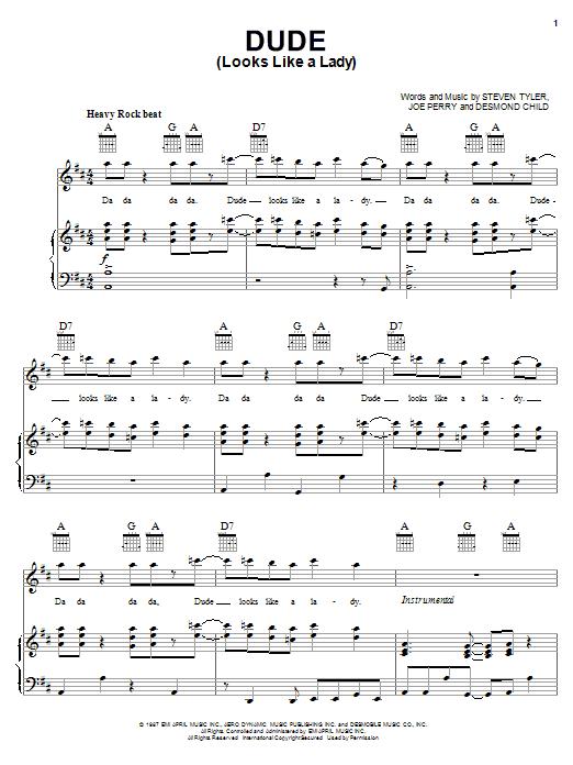 Dude (Looks Like A Lady) sheet music