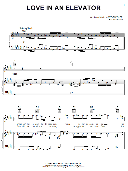 Love In An Elevator sheet music