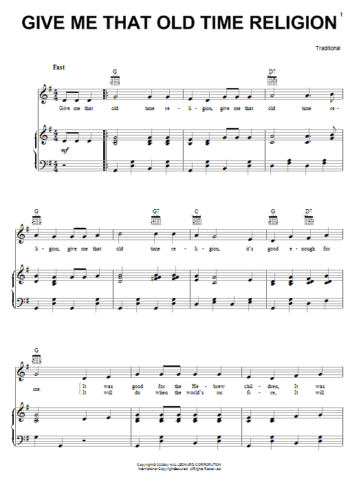 Give Me That Old Time Religion sheet music