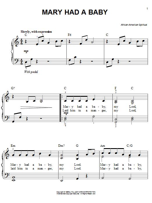 Mary Had A Baby sheet music
