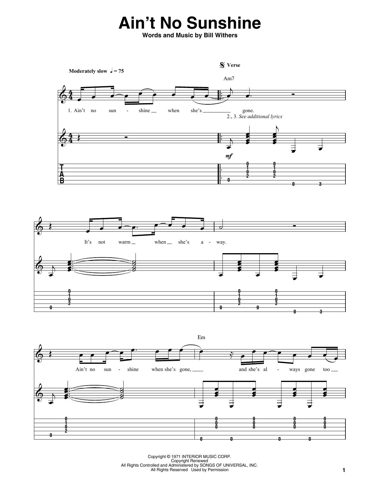 Bill Withers Ain T No Sunshine Sheet Music Download Pdf Score 357424 Disco d'esordio per il bluesman statunitense, riscuote ottimo successo di. bill withers ain t no sunshine sheet
