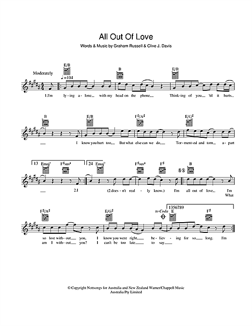 All Out Of Love sheet music