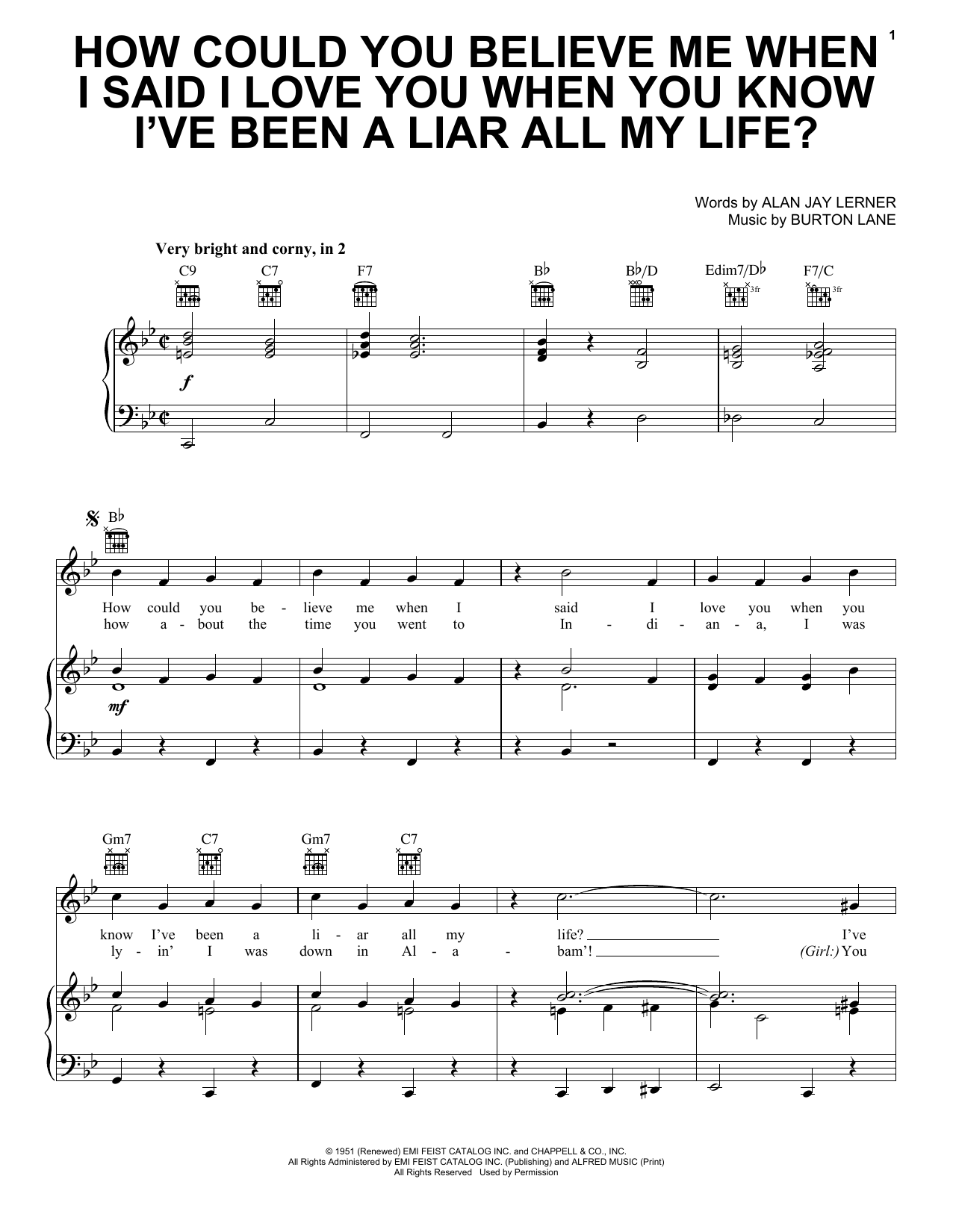 How Could You Believe Me When I Said I Love You When You Know I've Been A Liar All My Life? sheet music