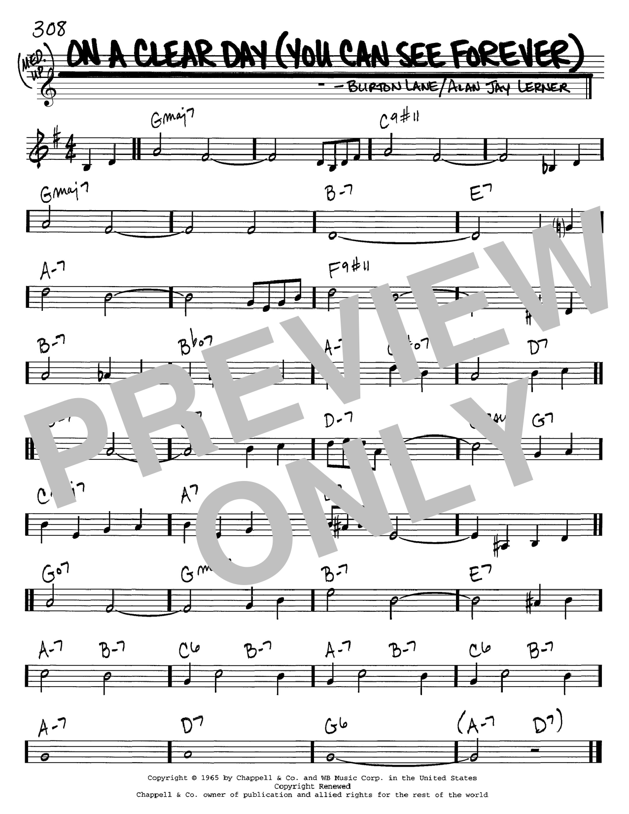 On A Clear Day (You Can See Forever) sheet music