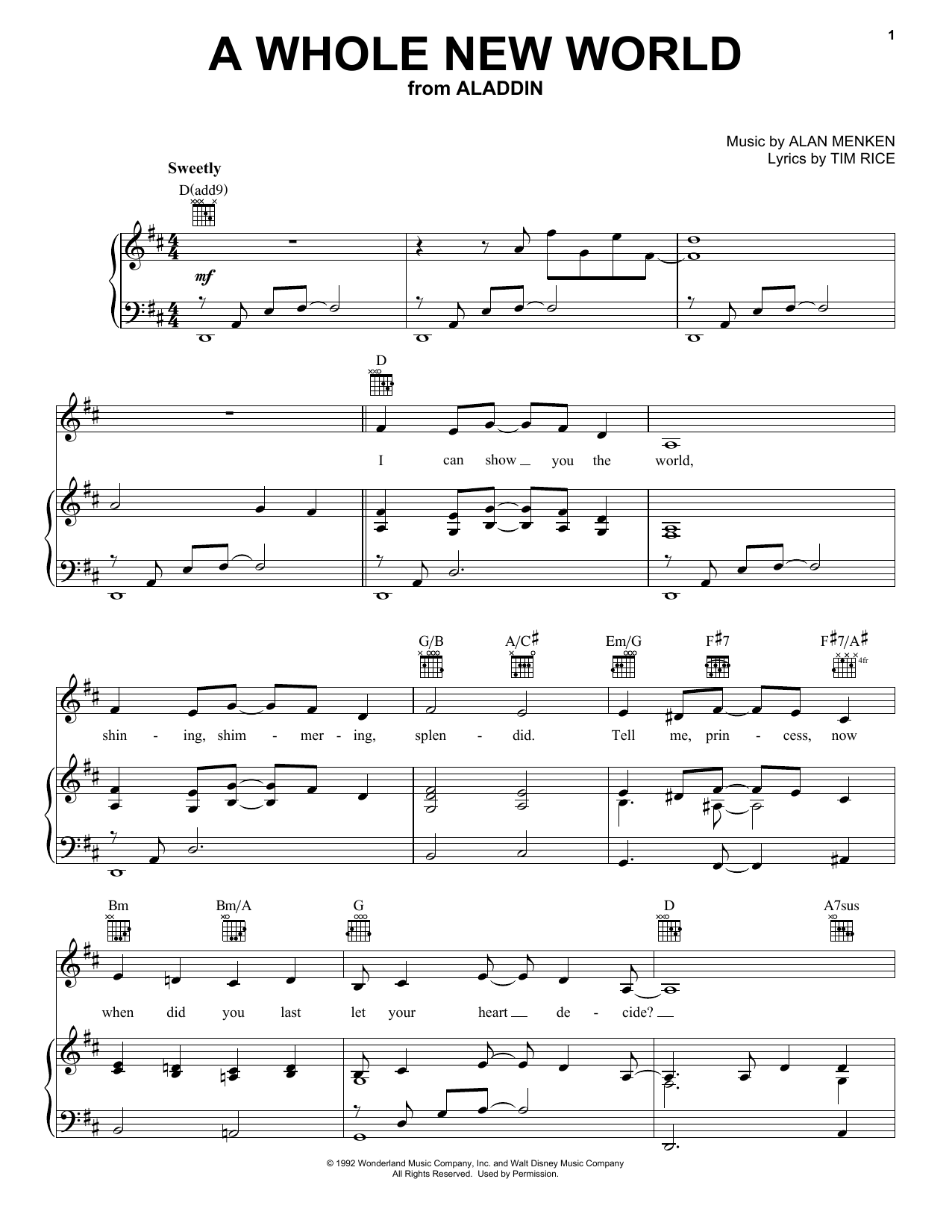 A Whole New World (from Aladdin) sheet music
