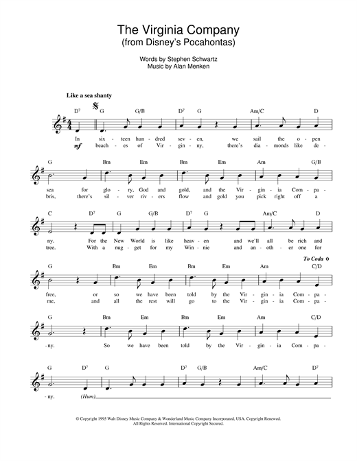 The Virginia Company (from Pocahontas) sheet music