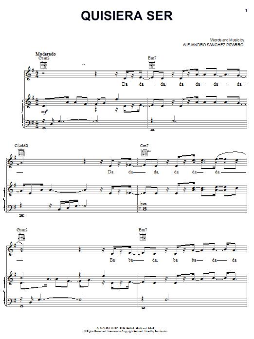 Quisiera Ser sheet music