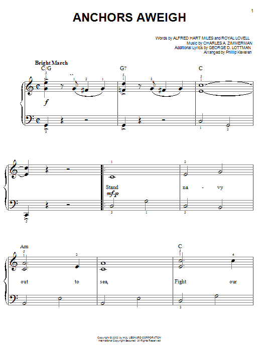 Anchors Aweigh sheet music