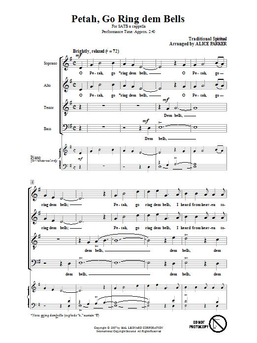 Petah, Go Ring Dem Bells (arr. Alice Parker) sheet music