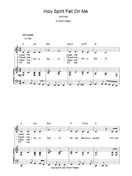 Holy Spirit Fall On Me sheet music