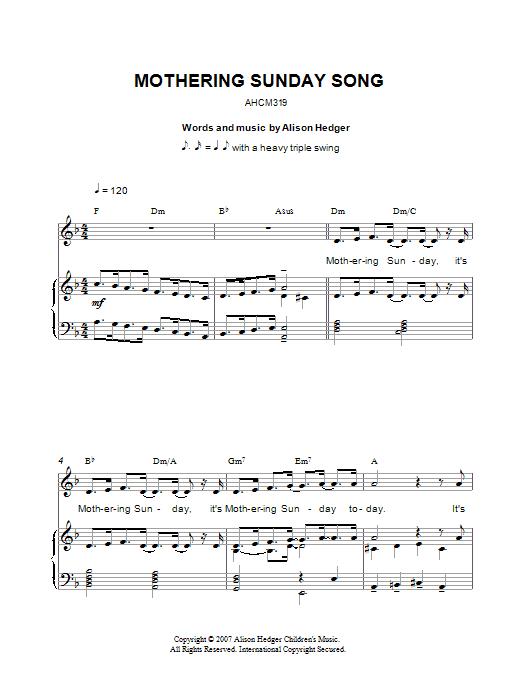 Mothering Sunday Song sheet music