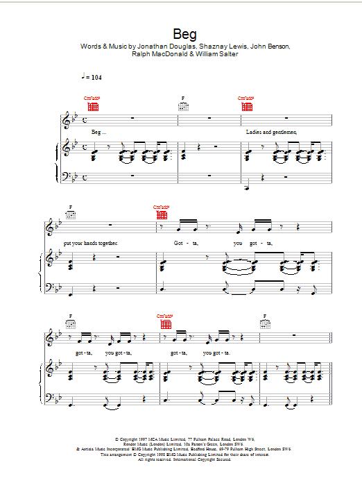 Beg sheet music