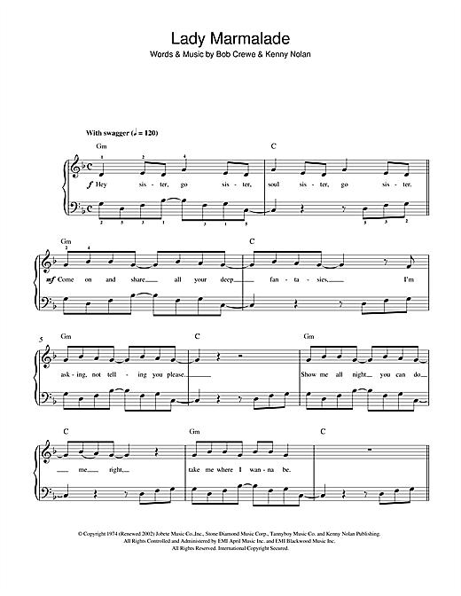 Lady Marmalade sheet music