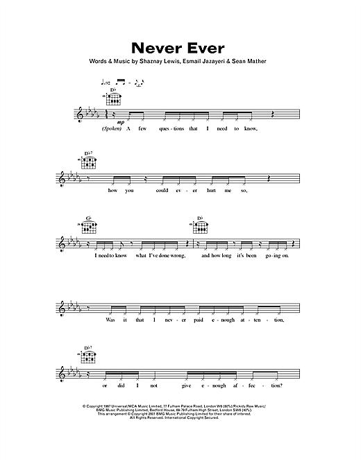 Never Ever sheet music