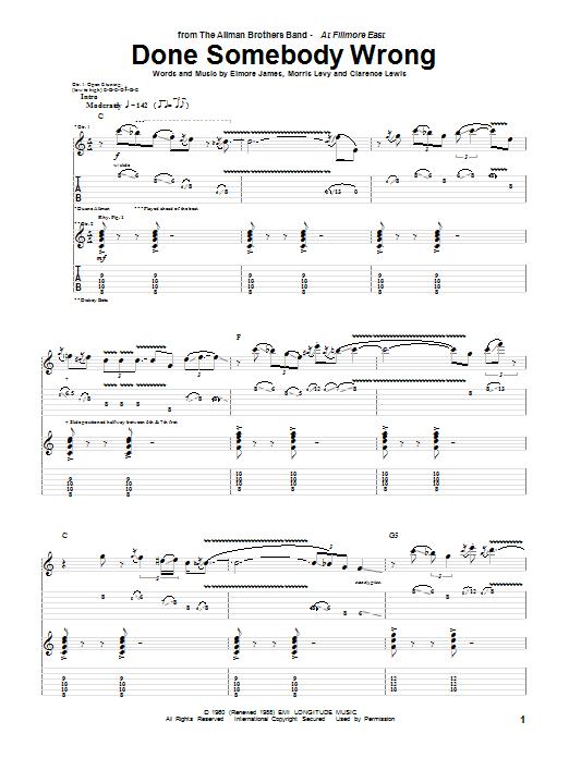 Done Somebody Wrong sheet music